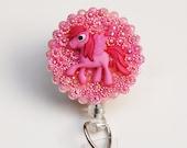 Pink Pegasus Pony ID Badge Reel - Retractable ID Badge Holder - Zipperedheart