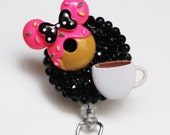 Minnie Mouse Donut And Coffee ID Badge Reel - Retractable ID Badge Holder - Zipperedheart