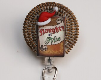 Santa's Naughty Or Nice List ID Badge Reel - Retractable ID Badge Holder - Zipperedheart