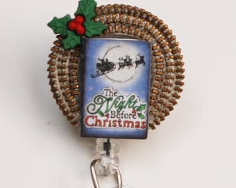 The Night Before Christmas ID Badge Reel - Retractable ID Badge Holder - Zipperedheart