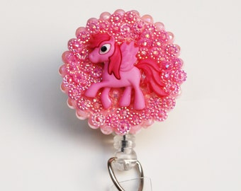 Pink Pegasus Pony ID Badge Reel - Retractable ID Badge Holder - Zipperedheart