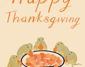 Prairie Dogs Thanksgiving Card