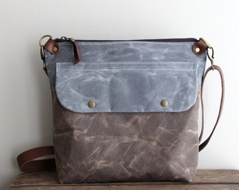 Waxed Canvas Purse Day Bag in Charcoal and Brown with Exterior Pocket and Leather Strap