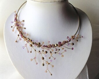 Gold and Amethyst Vine Necklace, Nature Inspired. Ready to ship.