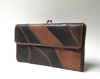 80s vintage Brown Leather Patchwork Wallet