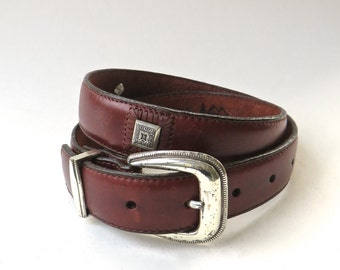 1995 vintage REI Brown Leather Belt with Silver Metal Embossed Decorative Embellishments