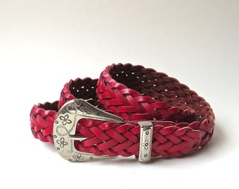 Vibrant vintage Red Braided Leather Belt with Floral Embossed Silver Metal Buckle / Made in Guatemala