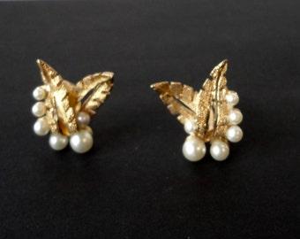 Gold Tone Leaves with Faux Pearls KRAMER Earrings. Unsigned Kramer