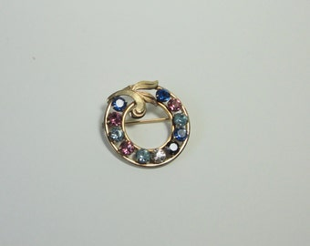 VAN DELL  12K GF Multi-Colored Rhinestones Circle Brooch