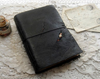 Nocturne - Black Faux Leather Journal, Recycled, Aged Paper, Vintage Maps, OOAK