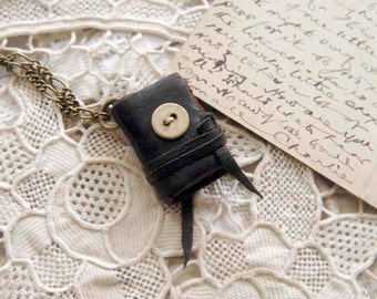 Mini Poet - Miniature Wearable Book, Black Reclaimed Leather, Tea Stained Pages, Antique Linen Button