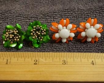 Vintage Metal and Beaded Earrings Set of two. Green Flower-Orange White Flower