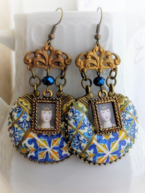 Portugal Antique Azulejo Tile Earrings- Monserrate Palace SINTRA and LISBON - Princess Joana Portriat Majolica Mosaic Turquoise Bohemian