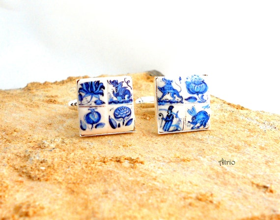 Portugal Antique Azulejo Tile Replica CUFF Links - COIMBRA 1690 - 1775 BLUE  - Gift Box