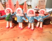 Vintage Wooden Angel Christmas Ornaments Lot of 4 angels with Pipe Cleaner decor
