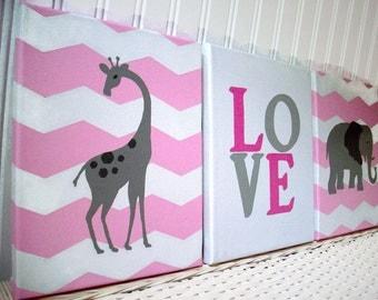 Jungle Nursery Decor - Baby Girl Paintings - Pink Grey Chevron Nursery - Giraffe Elephant Paintings - Nursery Wall Art - Hand Painted