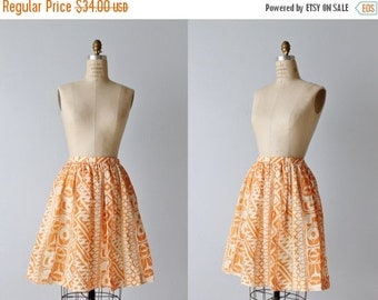 SALE Vintage 1960s Skirt / 60s Skirt / Orange Skirt / Novelty Print Skirt / Midi Skirt