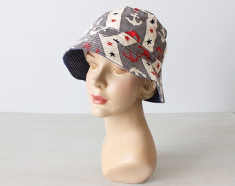 Cotton Bucket Hat / Vintage 1960s Novelty Bucket Hat / Sun Hat / Floppy Hat / Beach Hat
