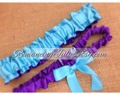 Simple Satin and Fully Reverseable Bridal Garter with BONUS Something Blue..You Choose The Colors..shown in turquoise/royal purple