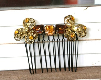 Vintage Upcycled Brown Amber Pale Yellow Rhinestone Gold Filigree Flower Hair Accessory Hair Comb Bridal Wedding