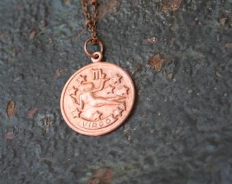 Vintage Copper VIRGO Astrological Sign Astrology Charm Necklace