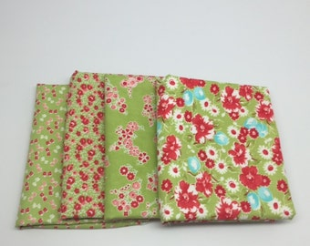 CHRISTMAS IN JULY Sale - Half Yard Bundle (4) - Little Ruby in Green - Bonnie and Camille for Moda Fabrics