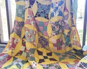 Improved Nine Patch quilt, Full Size, made from an old quilt top, yellow and scrappy, granny chic, READY TO SHIP, some feedsack fabrics