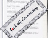 Subversive Cross Stitch PDF pattern: Bookmark F*ck Off, I'm Reading