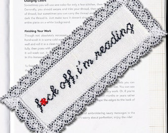 Subversive Cross Stitch PDF pattern: Bookmark F*ck Off, I'm Reading