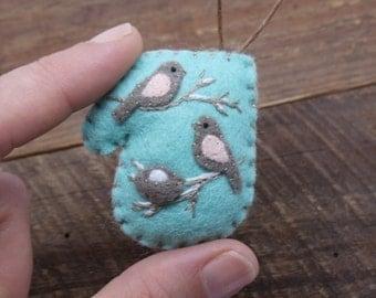 Expecting Parents Miniature  Felt Mitten Ornament