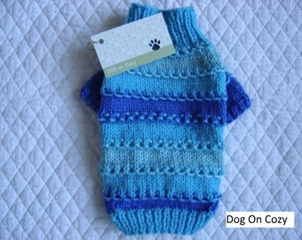 Textured Dog Sweater, Hand Knit Pet Sweater, Full Length,  Size SMALL, Loopy Loo Turquoise