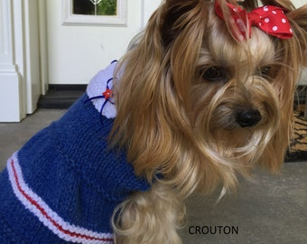 Dog Sweater, Hand Knit Pet Sweater, Flared Skirt Sweater Dress, Size XSMALL,  Little Salty Dress Blue
