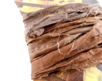 Silk Sari Ribbon Bundle 2 yds Chocolate
