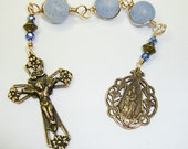 Catholic Three Hail Mary Chaplet, Our Lady of Victory, Blue cracked agate with bronze components