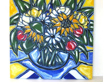 Yellow and blue Still Life Painting  Acrylic on Canvas Country 18 x 18 French Sunflowers Tulips Daisies gift idea