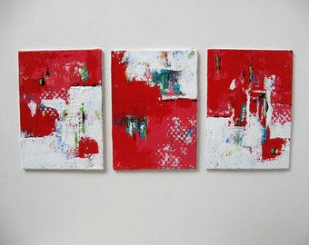 "Set of 3 red acrylic abstract paintings on canvas, small triptych, red and white, Original Expressionist art, 5"" x 7"", wall decor, gift idea"