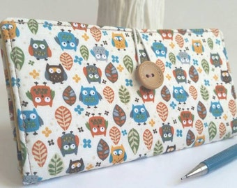 Owls CHECKBOOK COVER Colorful Fabric Handmade Wallet - Autumn Owls