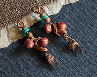 Boho Earrings, Celtic, Tribal Jewelry
