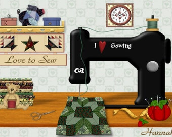 Painting ACEO Quilt Sewing Machine Room, Original Graphic Design Art Card