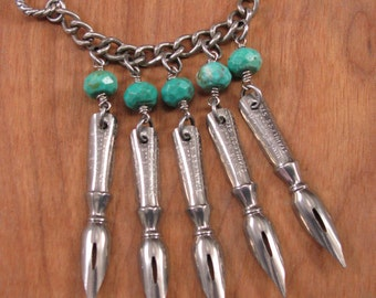 Writer Author Blogger - Pen Nib Necklace - Upcycled Jewelry - Stainless Fountain Pen Nib with Genuine Turquoise Beadwork Silver Necklace