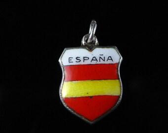 Charm, Espana, Spain, Enamel, Red, Yellow, Travel Shield, State Flag Colors, Europe