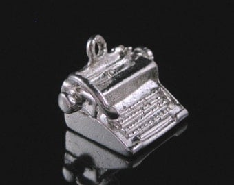 Charm, Sterling Silver, Typewriter Charm, Journalist Themed, Letter Writing, Good Luck Charm