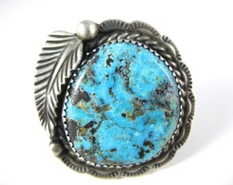 Ring, Size 9.75, Sterling Silver, Large Genuine Turquoise, Oval Stone, Leaflet, Native American, Jewelry, Sterling Ring