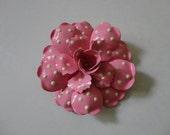VINTAGE 80s pink and white polka dot FLOWER BROOCH