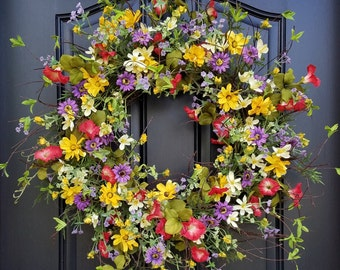 Spring Wreath, Easter Wreath, Front Door Wreaths, Spring Wreaths for Front Door, Yellow Daisy Wreath, Red Petunias, Purple Flower Wreaths