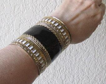 Wide Alloy Bangle Cuff Bracelet