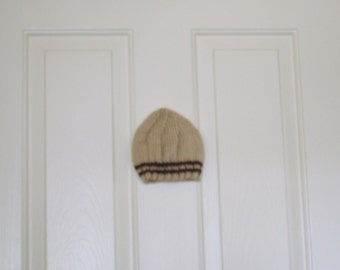 Knitted Baby Hat in Tan with Dark Brown Stripes