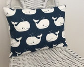 Whale Tales Navy and White Pillow Cover Boys Room Pillow Den Pillow 5 Sizes