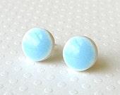 Small Light Blue Earrings. Round. Robins Egg Blue. Aqua. Sky Blue. Turquoise. Pastel. Stud Earrings. Surgical Steel. Lightweight. Minimalist