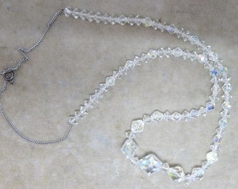 Faceted Crystal Beads on a Sterling Silver Chain